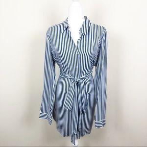 Forever 21 Blue Striped Wrap Dress